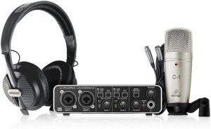 כרטיס קול מיקרופון אולפני תוכנת הקלטה ואוזניות Behringer U-Phoria Studio Pro