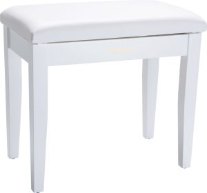 כיסא פסנתר מעץ מלא, מרופד, בגימור לבן מט מבית Roland  כיסא פסנתר מעץ מלא, מרופד, בגימור שחור מט