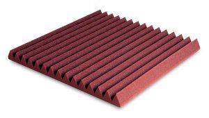 ספוג אקוסטי אדום עם פסים בצורת טריזים Ez acoustics Wedges 5 60 x 60 x 5 cm