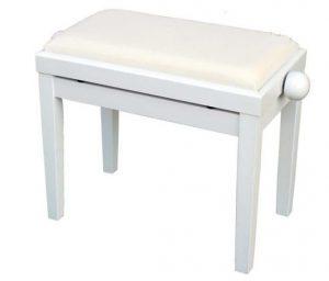 כסא לפסנתר לבן ריפוד קטיפה Albert PB02-WH