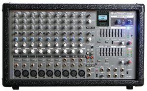 מגבר 2x400W RMS מיקסר 10 כניסות נגן/מקליט USB PHONIC