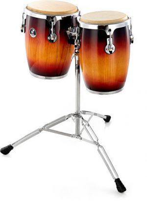 זוג מיני קונגס כולל סטנד SONOR 9 & 10 Mini Conga Sunburst High Gloss Hevea Wood