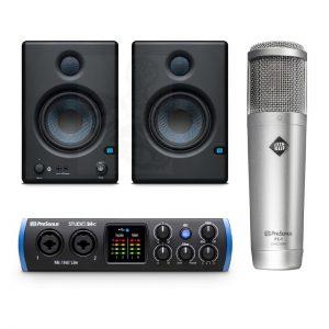 חבילת הקלטה לאולפן PreSonus מיקרופון אולפני PX-1 כרטיס קול Studio24c מוניטורים E4.5BT פופר סטנד וכבל
