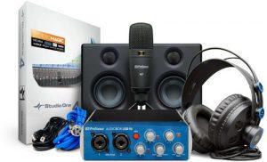 כרטיס קול מיקרופון אולפני תוכנת הקלטה אוזניות ומוניטורים אולפניים PreSonus Audiobox Studio Ultimate