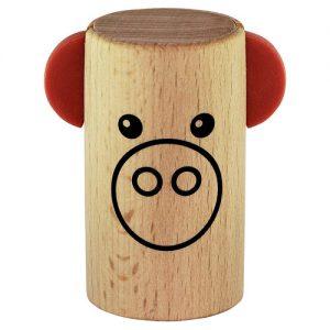 שייקר מעץ SONOR wooden shaker with pig face 62 mm 35 mm