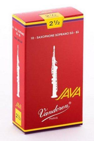עלים לסקסופון סופרן אדום Java Red Cut מספר 2.5 – 10 בקופסא Vandoren SR3025R