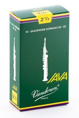 עלים לסקסופון סופרן ירוק Java מספר 2.5 – 10 בקופסא Vandoren SR3025