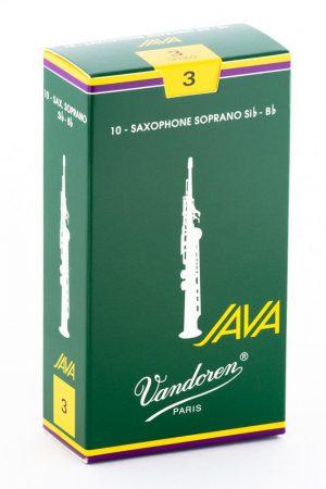עלים לסקסופון סופרן ירוק Java מספר 3 – 10 בקופסא Vandoren SR303