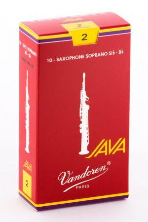 עלים לסקסופון סופרן אדום Java Red Cut מספר 2 – 10 בקופסא Vandoren SR302R