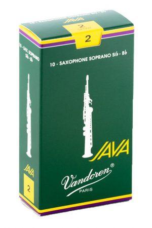 עלים לסקסופון סופרן ירוק Java מספר 2 – 10 בקופסא Vandoren SR302