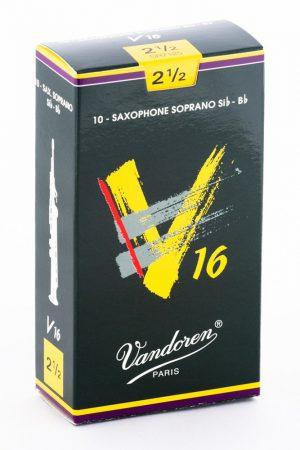 עלים לסקסופון סופרן V16 מספר 2.5 – 10 בקופסא Vandoren SR7125