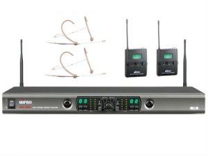 מיקרופון אלחוטי כפול שני משדר חגורה ומיקרופון מדונה Mipro SET ACT-100A M MU-55H