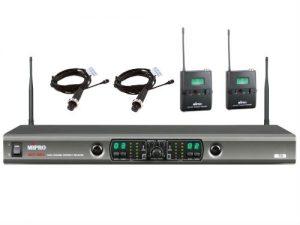 מיקרופון אלחוטי כפול שני משדר חגורה ומיקרופון דש Mipro SET ACT-100A S MU-55L