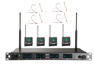 מערכת אלחוטיית 4 משדר כיס ומיקרופון מדונה Mipro SET ACT-848 4M  MU55H