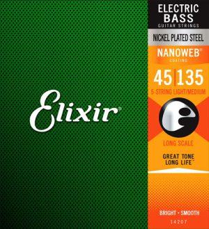 NANOWEB ELIXIR סט מיתרים לגיטרה בס 5 מיתרים 045