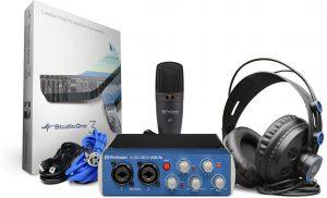 כרטיס קול עם מיקרופון אולפני תוכנת הקלטה ואוזניות אולפן PreSonus Audiobox USB 96 Studio