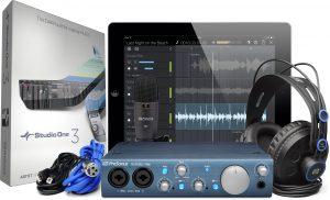 כרטיס קול עם מיקרופון אולפני תוכנת הקלטה ואוזניות אולפן PreSonus Audiobox iTwo Studio