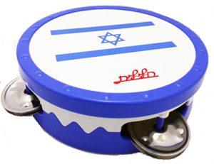 טמבורין דגל ישראל עם עור בקוטר 14 סמ ו- 3 זוגות מצלצלים Halilit MT604IL
