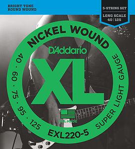 מיתרים לגיטרה בס 5 מיתרים DAddario EXL220-5 040-125