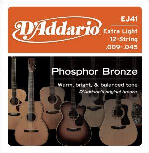 מיתרים לגיטרה אקוסטית 12 מיתרים DAddario EJ41 009-045