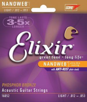 סט מיתרים לגיטרה אקוסטית Elixir 16052 Nanoweb Phosphor Bronze 012