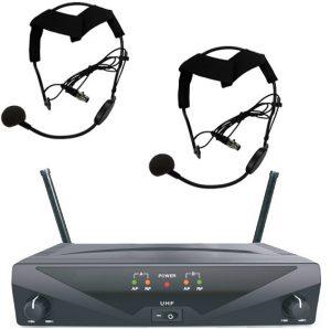 מערכת אלחוטית מיקרופון ידני + מיקרופון ראש משדר על הקשת JADE IU-2071HH