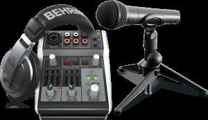 ערכת שידור מיקסר אוזניות מיקרופון וסטנד Behringer Broadcaster