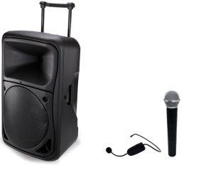 בידורית ניידת 12 אינצ שני מיקרופונים אלחוטיים Pro Audio MAS12