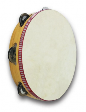 טמבורין מיוצר מעץ משובח צליל נהדר עם כיסוי עור אמיתי 18 סמ 5 זוגות צלצלים