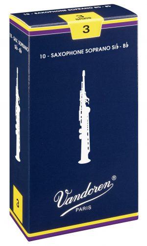 עלים לסקסופון סופרן כחול מספר 3 – 10 בקופסא  Vandoren SR203