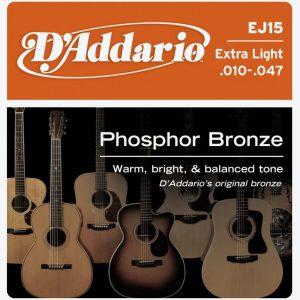 מיתרים לגיטרה אקוסטית DAddario EJ15 010-047