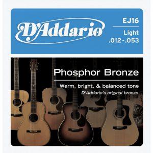 מיתרים לגיטרה אקוסטית DAddario EJ16 012-053