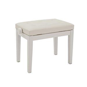 כסא לפסנתר לבן ריפוד דמוי עור Albert PB01-WH