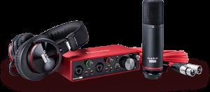 חבילת אולפן הכוללת כרטיס קול אוזניות מיקרופון ואביזרים נלווים  Focusrite Scarlette 2i2 Studio G3