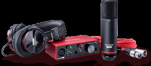 חבילת אולפן הכוללת כרטיס קול אוזניות מיקרופון ואביזרים נלווים Focusrite Scarlett Solo Studio G3